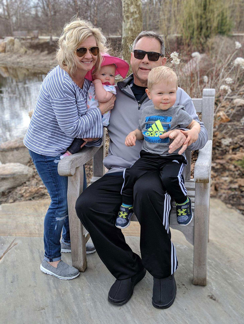 Greg Thorne, heart patient, relaxes with his wife Wendy and grandchildren Avery and Nolan