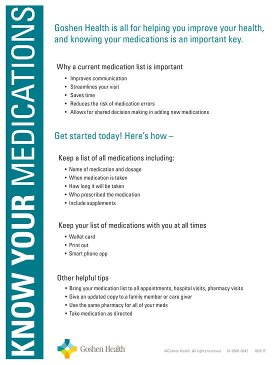 Click to download our Flyer: Know Your Medications